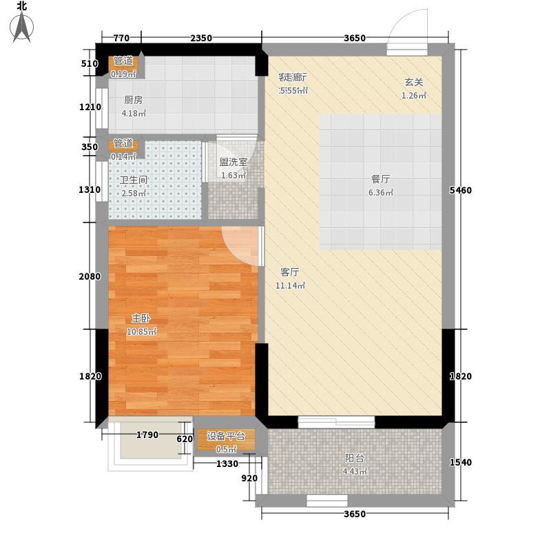 锦绣天伦花园60.67㎡五街2号04单位户型1室2厅