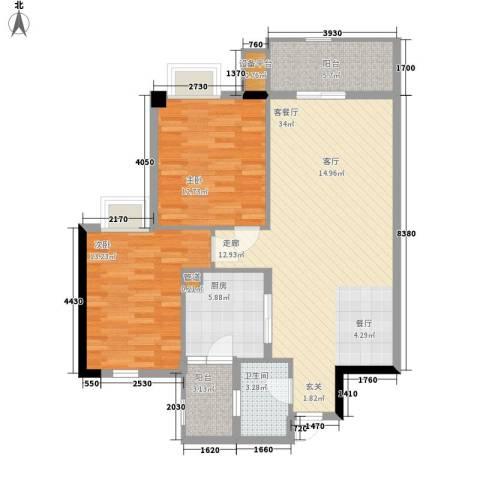 富力院士庭2室1厅1卫1厨93.00㎡户型图