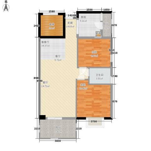 富力院士庭2室1厅1卫1厨87.00㎡户型图