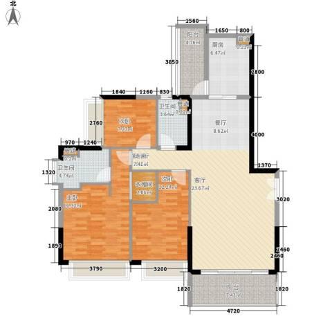 天荟公馆3室1厅2卫1厨138.00㎡户型图