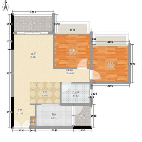 天荟公馆2室1厅1卫1厨81.00㎡户型图