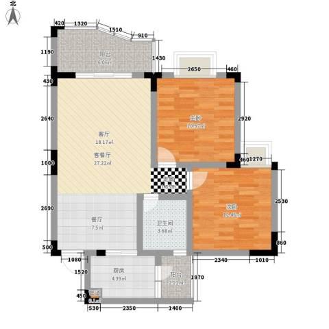 富悦新城2室1厅1卫1厨75.00㎡户型图