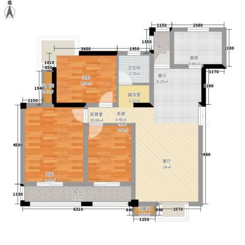 红莲湖首府3室0厅1卫1厨90.54㎡户型图