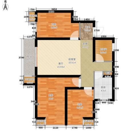 中基礼域3室0厅1卫1厨96.00㎡户型图