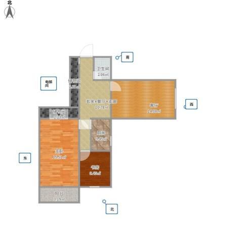 西直门南大街小区2室1厅1卫1厨83.00㎡户型图