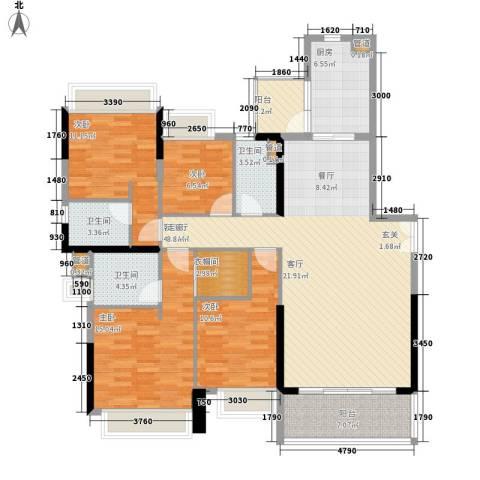 天荟公馆4室1厅3卫1厨158.00㎡户型图