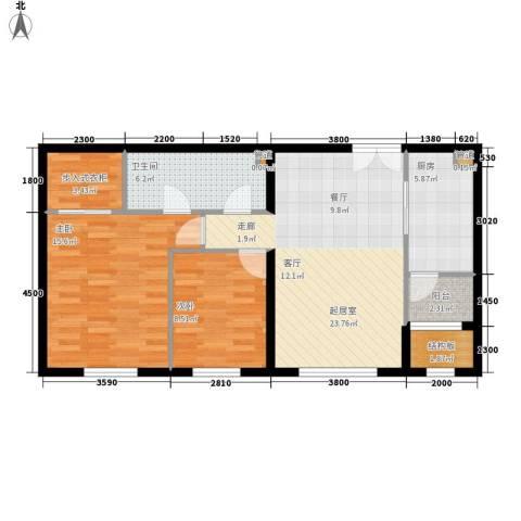 中央悦城2室0厅1卫1厨96.00㎡户型图