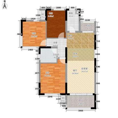 升华公园懿品3室0厅1卫1厨123.00㎡户型图