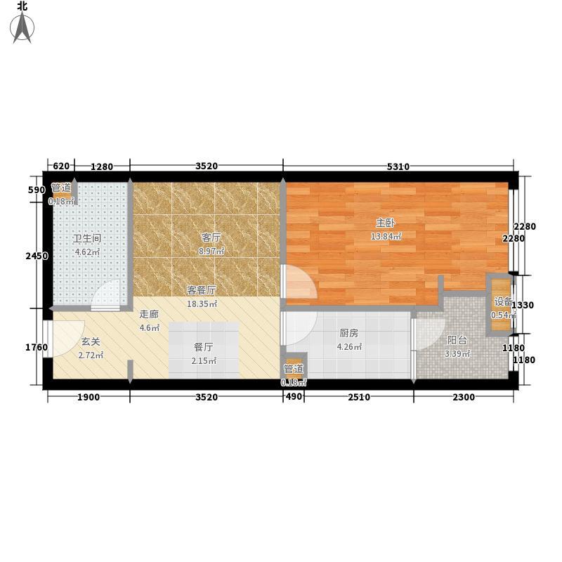 龙湖两江新宸44.00㎡一期27号楼标准层A-1户型