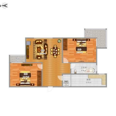 金牛坊2室1厅1卫1厨93.00㎡户型图