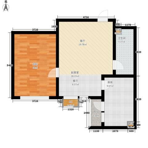 晶彩1室0厅1卫1厨70.00㎡户型图
