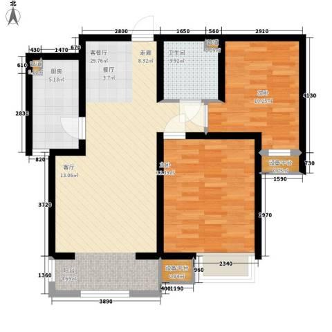 华城领秀2室1厅1卫1厨92.00㎡户型图
