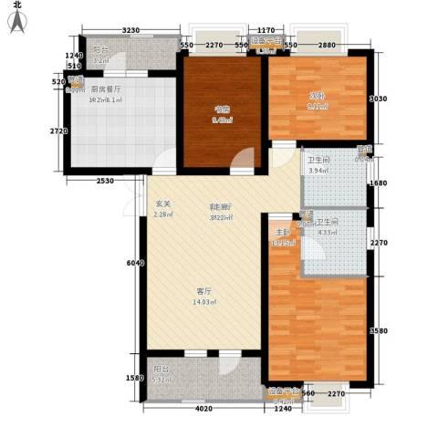 宝利国际广场云观公寓3室1厅2卫1厨125.00㎡户型图