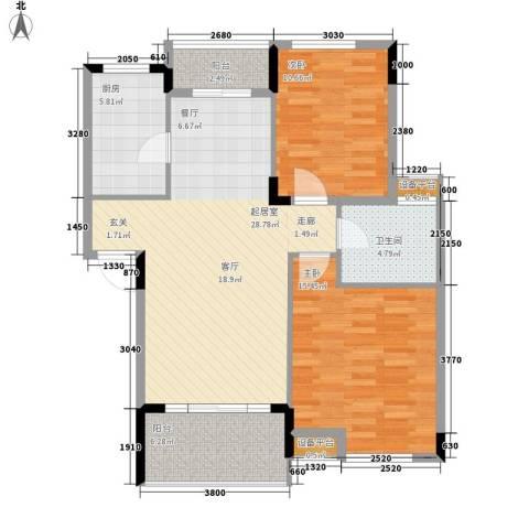 融科蔚城2室0厅1卫1厨77.00㎡户型图
