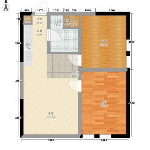 宝利国际广场云观公寓2室1厅1卫0厨90.00㎡户型图
