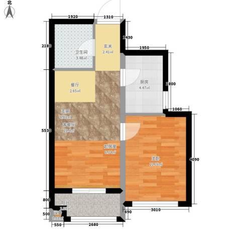 东城景苑1室1厅1卫1厨59.00㎡户型图
