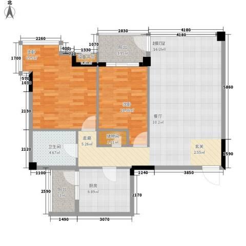 融科蔚城2室0厅1卫1厨86.00㎡户型图