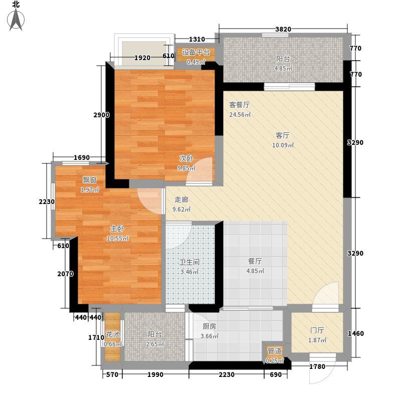锦绣天伦花园77.00㎡三街11号04单位户型2室2厅