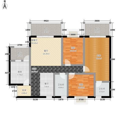 春风绿苑3室1厅2卫1厨108.00㎡户型图