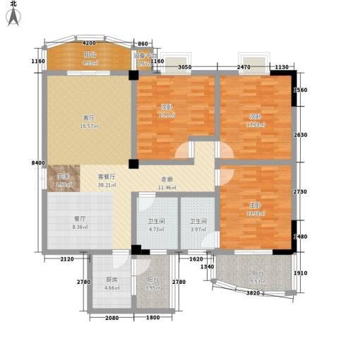 时代金贸3室1厅2卫1厨154.00㎡户型图