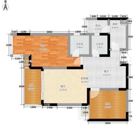 雅典汇2室0厅2卫1厨76.00㎡户型图
