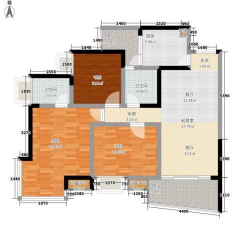 雅典汇3室0厅2卫1厨96.00㎡户型图