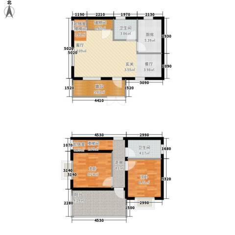 玉龙湾运动度假山谷2室0厅2卫1厨85.00㎡户型图