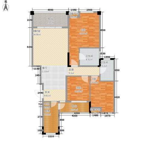 融科蔚城3室0厅2卫1厨127.32㎡户型图