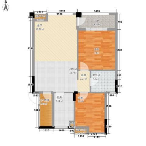 融科蔚城2室0厅1卫1厨75.00㎡户型图