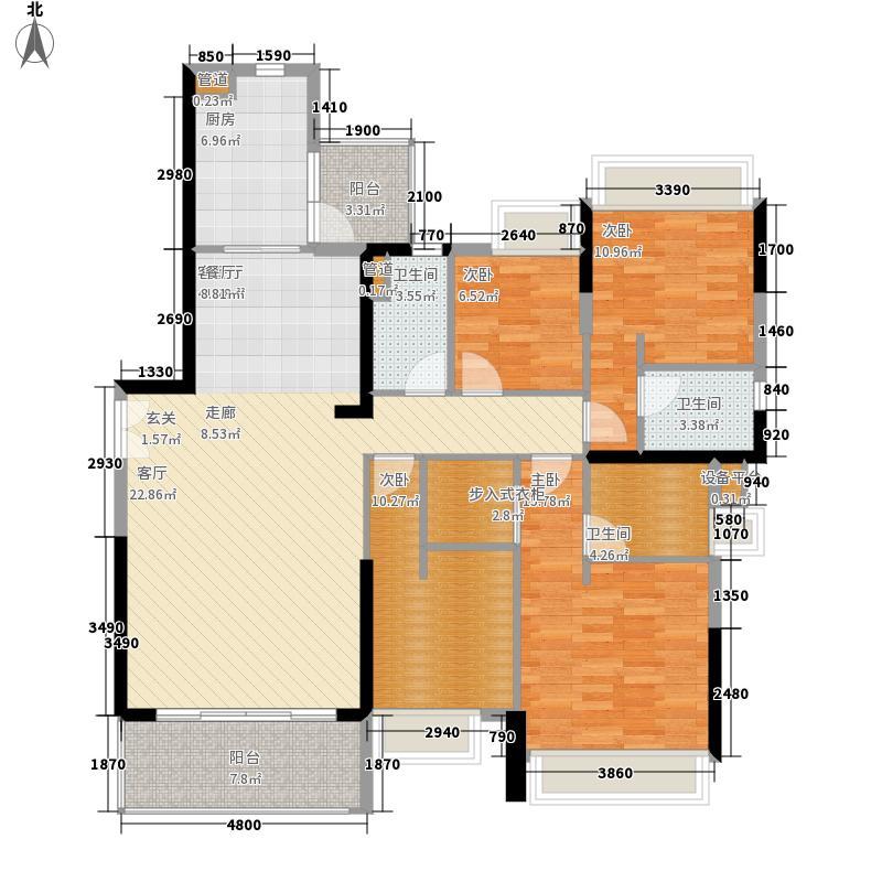 天荟公馆158.00㎡B栋02单元4室户型