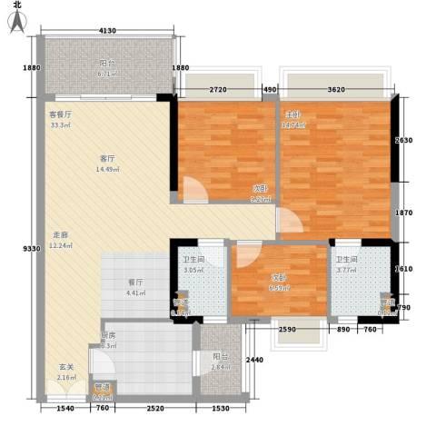 天荟公馆3室1厅2卫1厨116.00㎡户型图