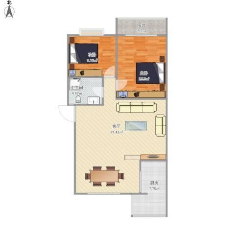 雅丽花园三期2室1厅1卫1厨108.00㎡户型图