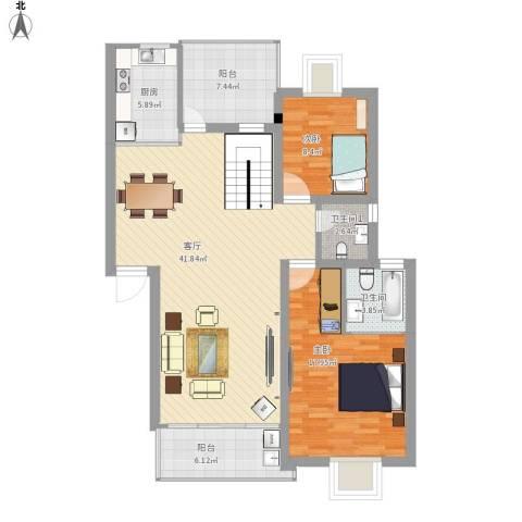 国信新城2室1厅1卫1厨133.00㎡户型图