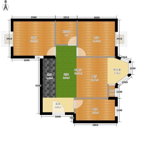 珠江逸景家园2室1厅1卫1厨92.00㎡户型图