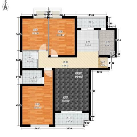 香木林3室1厅2卫1厨127.00㎡户型图