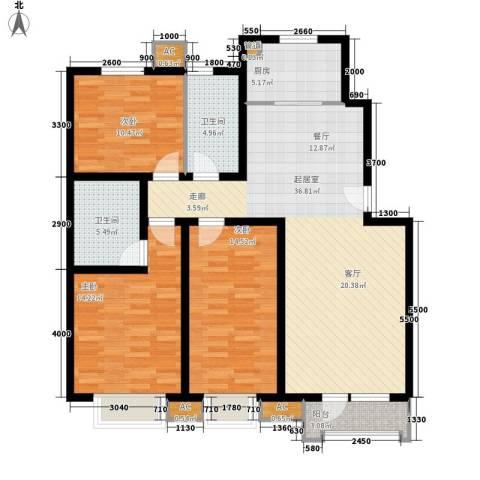 保利花园3室0厅2卫1厨139.00㎡户型图