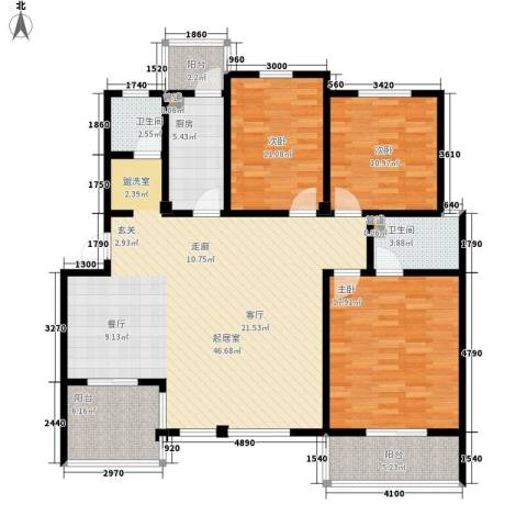 洪城比华利3室0厅2卫1厨158.00㎡户型图