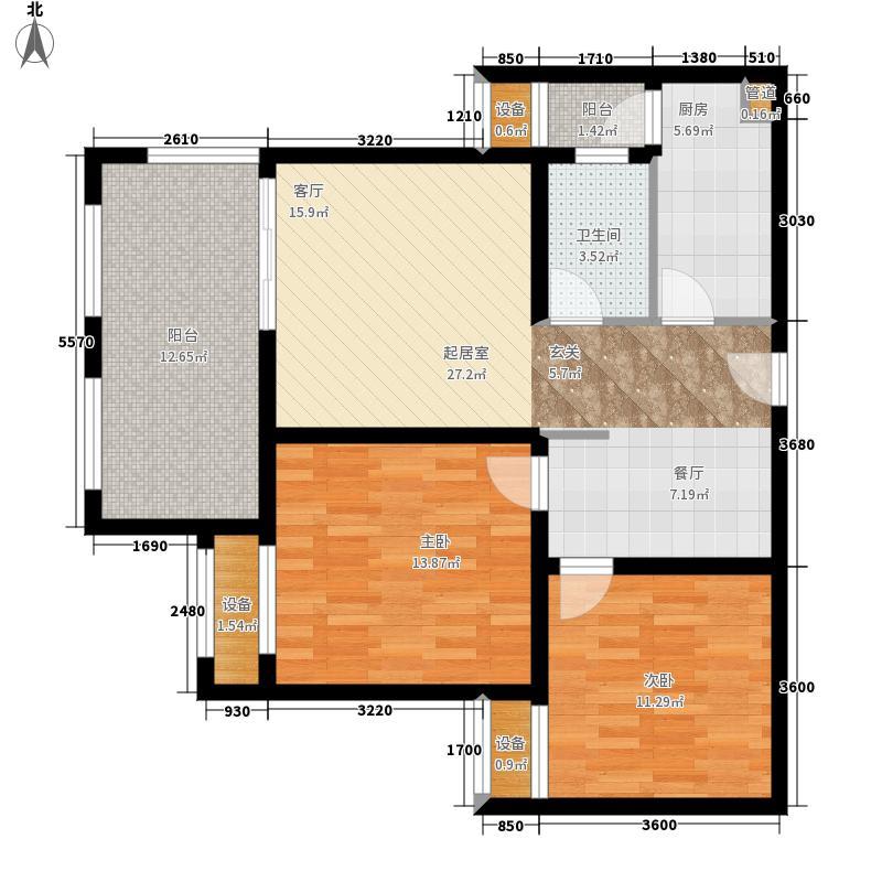 金科廊桥水乡86.50㎡美丽湾1号楼3户型2室2厅