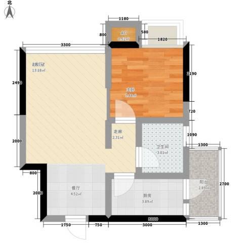 绿云国际纺织服装城1室0厅1卫1厨54.00㎡户型图