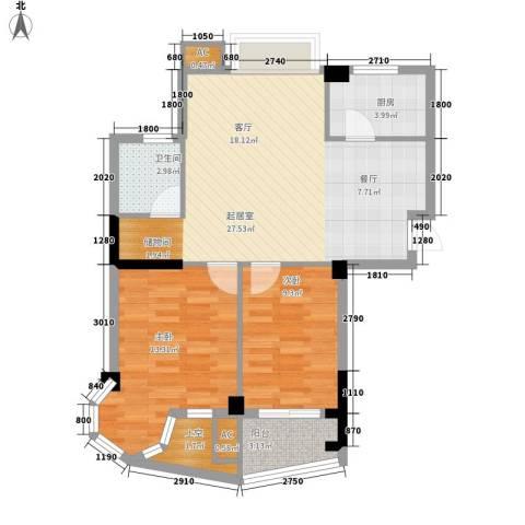 西城龙庭2室0厅1卫1厨90.00㎡户型图