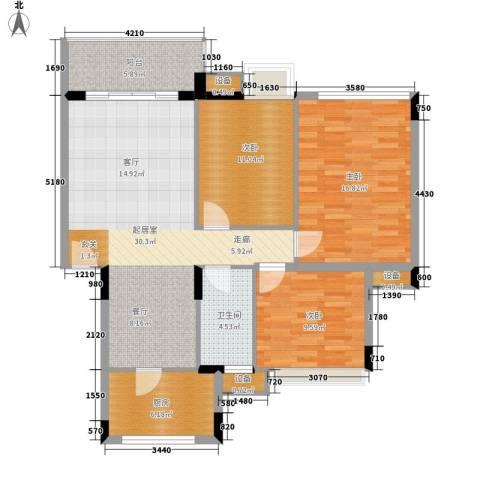 中海康城3室0厅1卫1厨96.00㎡户型图
