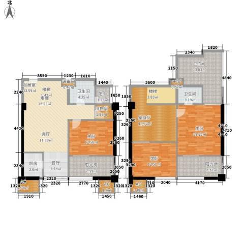 橙仕空间3室0厅2卫1厨144.39㎡户型图