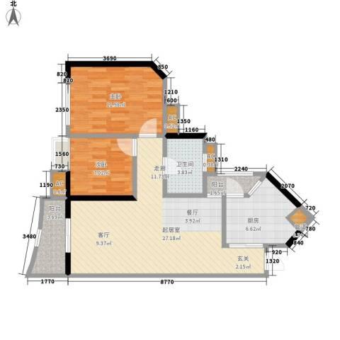 恒荔湾畔2室0厅1卫1厨74.00㎡户型图