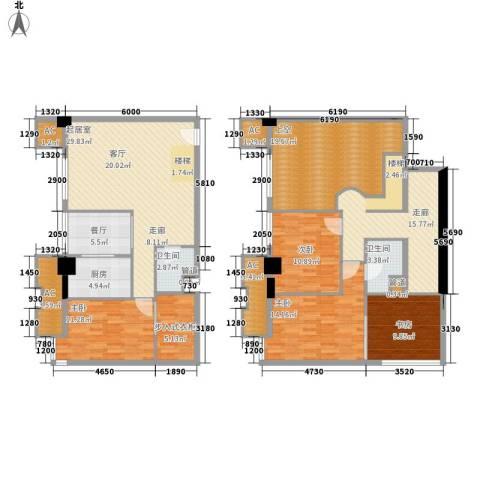 橙仕空间4室1厅2卫1厨143.16㎡户型图