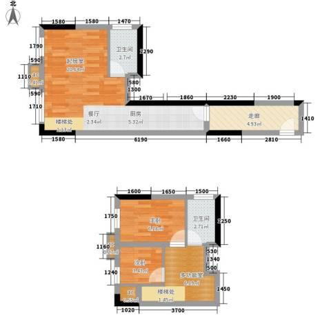 雪梨澳乡2室0厅2卫0厨50.00㎡户型图