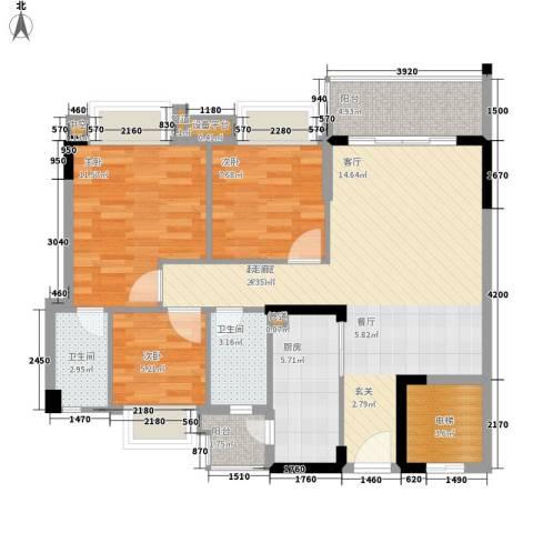 平湖秋月三期3室0厅2卫1厨89.00㎡户型图