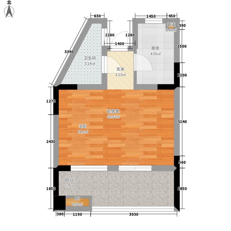 山泉海46.45㎡5#楼A1-3户型