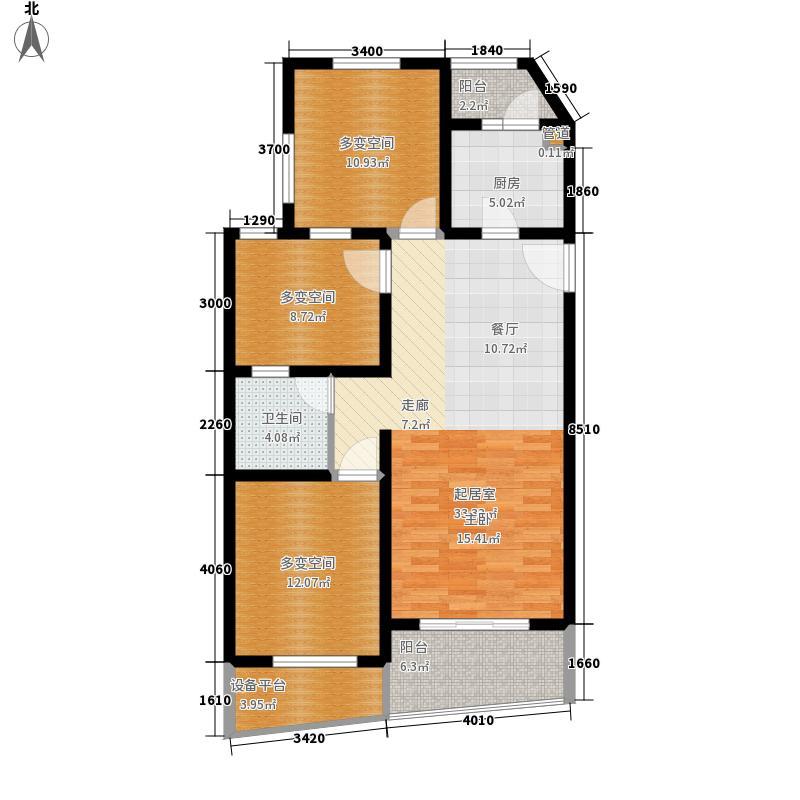 阳光100国际新城85.00㎡户型3室2厅