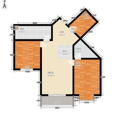 顺美华庭3室0厅1卫1厨117.00㎡户型图