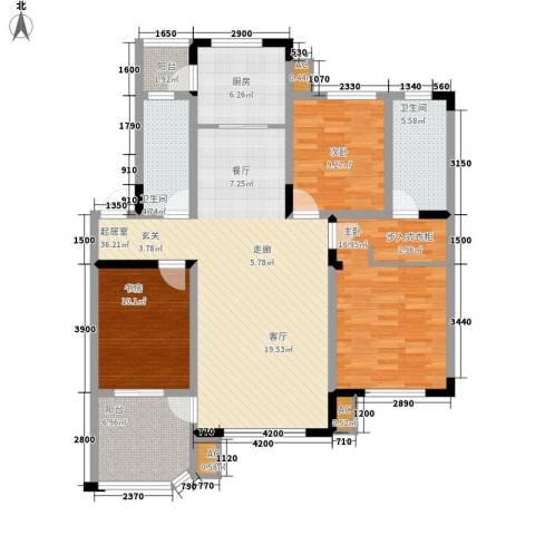 中海水岸馨都3室0厅2卫1厨144.00㎡户型图